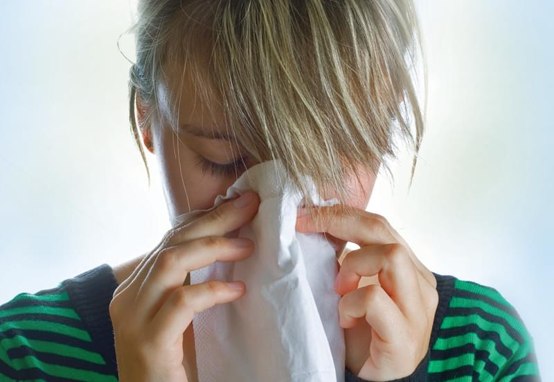Girl, sneeze, tissue, virus, cold, flu, enterovius