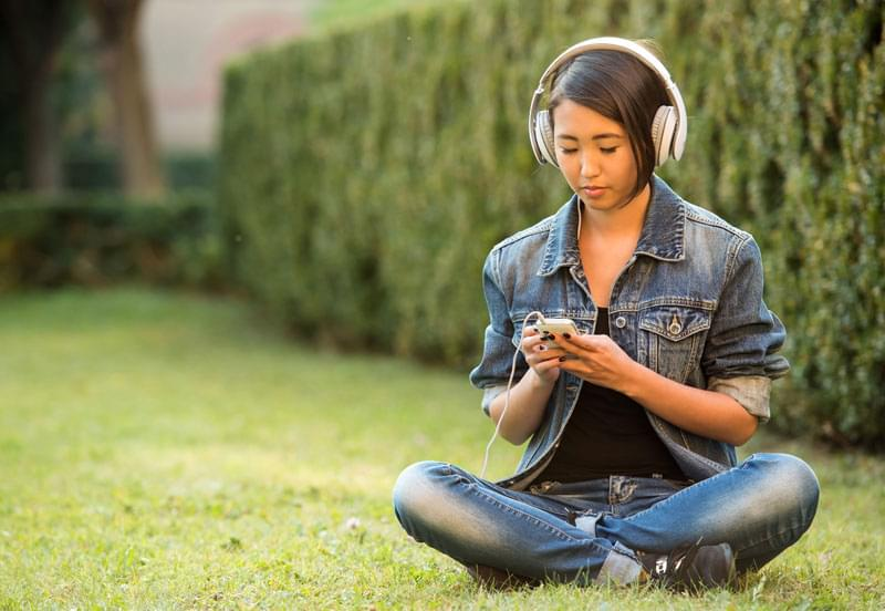 Audiology young girl with headphones