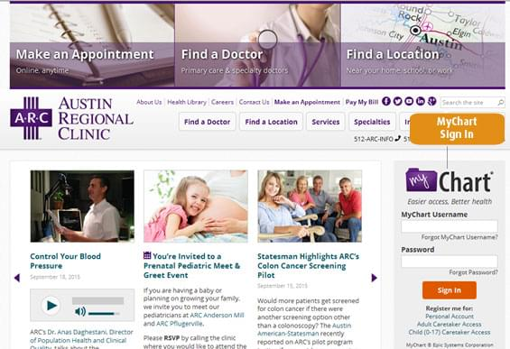Access To Mychart From The Austinregionalclinic Home Page