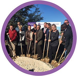 photo of employees at groundbreaking ceremony for a new location