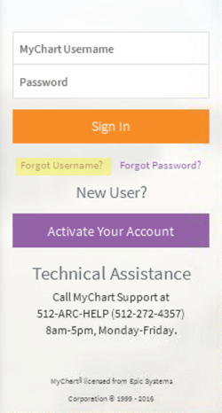 Click On The Forgot Username Link Under Mychart Field