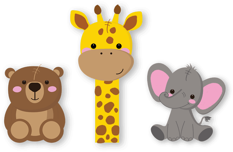 illustration of bear, giraffe and elephant